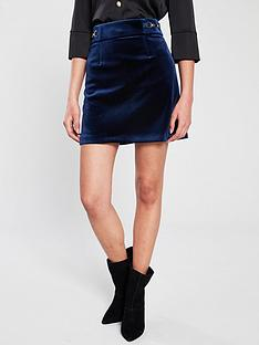 river-island-velvet-mini-skirt-navy