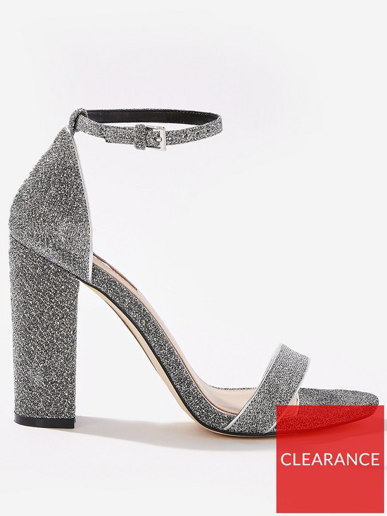 013781d8a3c Miss Selfridge Lurex Glitter Block Heeled Shoes - Silver