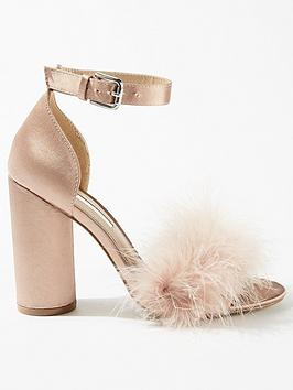 miss-selfridge-feather-circle-block-heel-blush