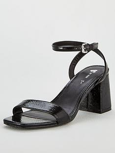 69853706842 V by Very Buttercup Square Toe Block Heel Ankle Strap Sandal - Black