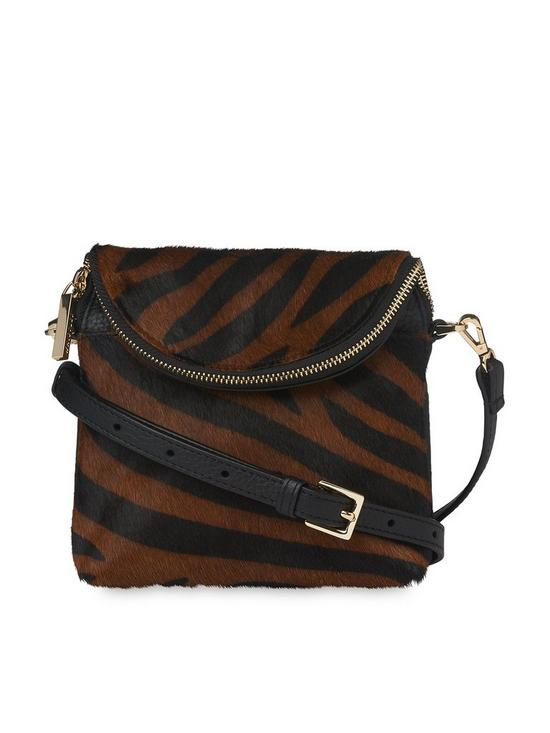 b651ee0aac1 WHISTLES Leather Animal Print Victoria Mini Cross Body Bag - Brown/Black |  very.co.uk
