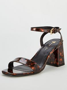 7173de56362 V by Very Buttercup Square Toe Block Heel Ankle Strap Sandal - Multi