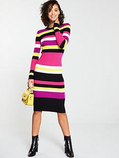 b3bb18ce2e8 V by Very Skinny Rib Stripe Midi Knitted Dress - Stripe