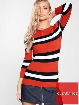 v-by-very-skinny-rib-34-sleeve-jumper-stripe