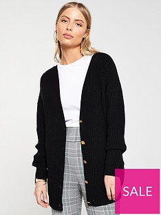 215551dd093d3a V by Very V Front And Back Buttoned Cardigan - Black