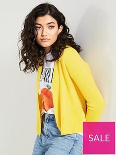 v-by-very-edge-to-edge-rib-short-cardigan-yellow