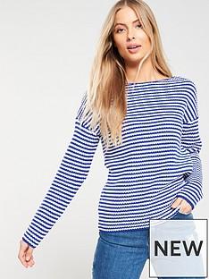 v-by-very-striped-ribbed-boat-neck-jumper-bluewhite