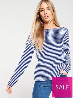 4770de078a8e31 V by Very Striped Ribbed Boat Neck Jumper - Blue/White