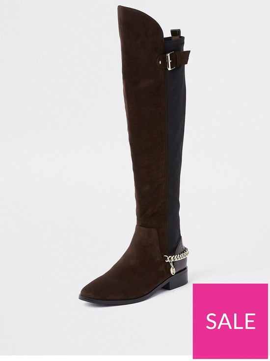 7ec86e09bd River Island River Island Chain Detail Knee High Boots - Brown | very.co.uk