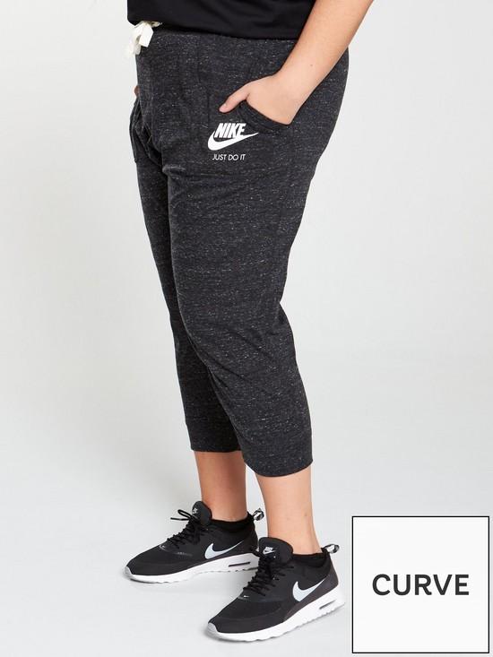 52a9f7aaa0717 Nike Sportswear Gym Vintage Capri (Plus Size) - Black | very.co.uk