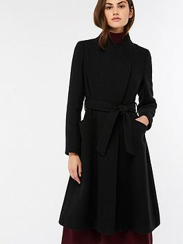 Monsoon Beatrice Belted Fit And Flare Coat - Black