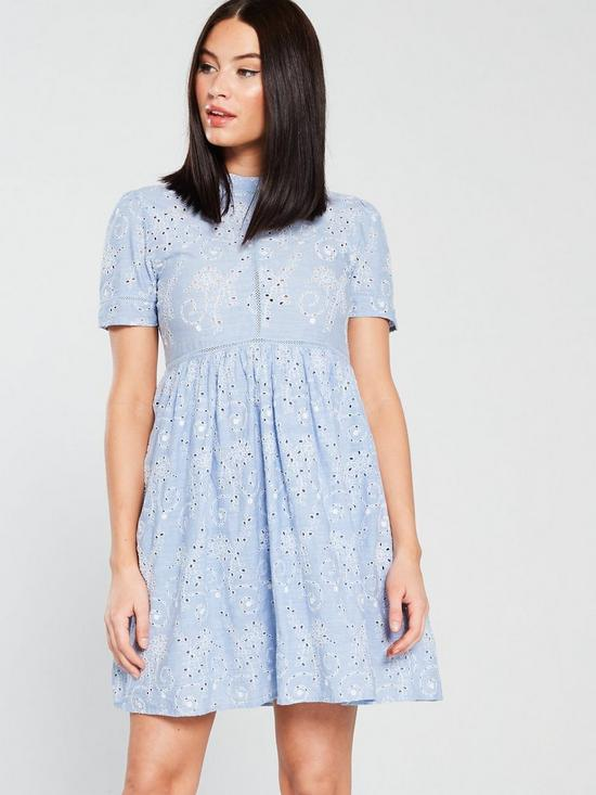 b09081ea3d Superdry Shelly Schiffli Dress - Blue Chambray