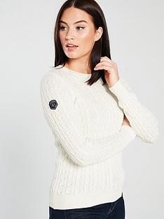 Superdry Croyde Bay Cable Knit Jumper - Cream 907c7137452
