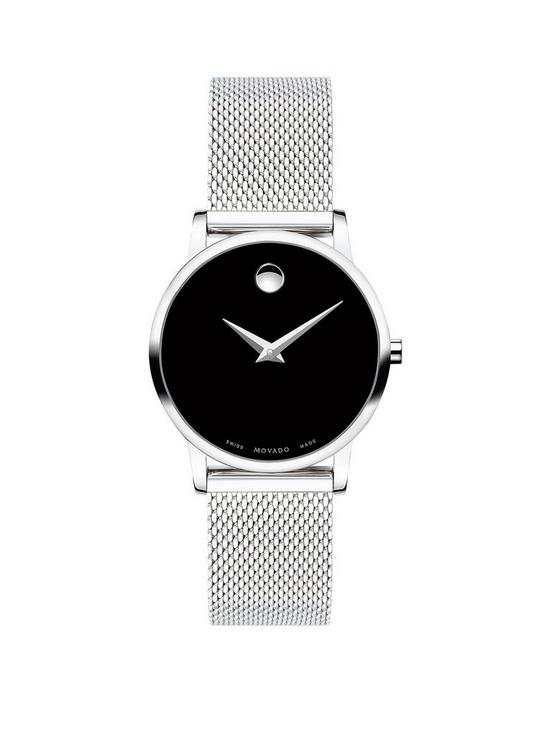 077b8cd9b MOVADO Movado Museum Black and Silver Dial Stainless Steel Mesh Strap  Ladies Watch