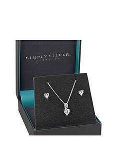 jon-richard-simply-silver-sterling-silver-cubic-zirconia-heart-earrings-pendant-set