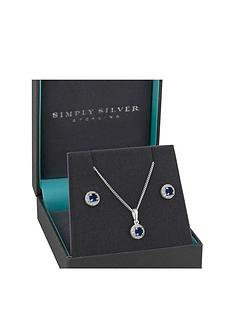 jon-richard-simply-silver-sterling-silver-sapphire-cubic-zirconia-halo-earrings-pendant-set