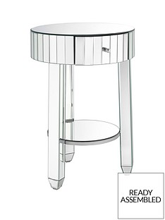 Phoebe Ready Assembled Round Mirrored Bedside Table