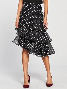 keepsake-limits-polka-dot-ruffle-skirt-blackivorynbsp
