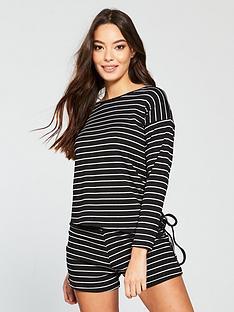 v-by-very-ribbed-long-sleeved-top-and-shorts-pj-set-blackwhitenbsp