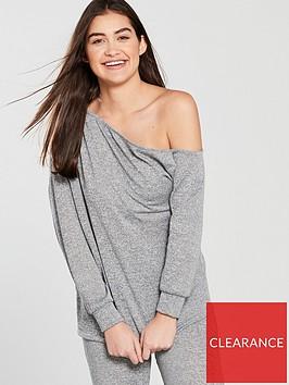 v-by-very-knit-off-the-shoulder-lounge-set-grey