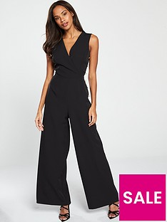 da32932ccae V by Very Wrap Button Side Jumpsuit - Black