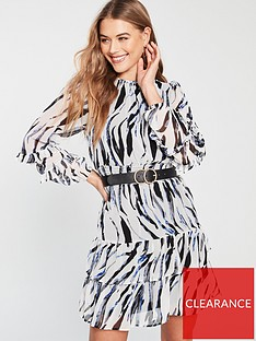244562fc4a V by Very Abstract Zebra Ruched Sleeve Frill Tea Dress - Printed