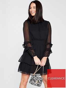 v-by-very-ruched-sleeve-frill-tea-dress-blacknbsp