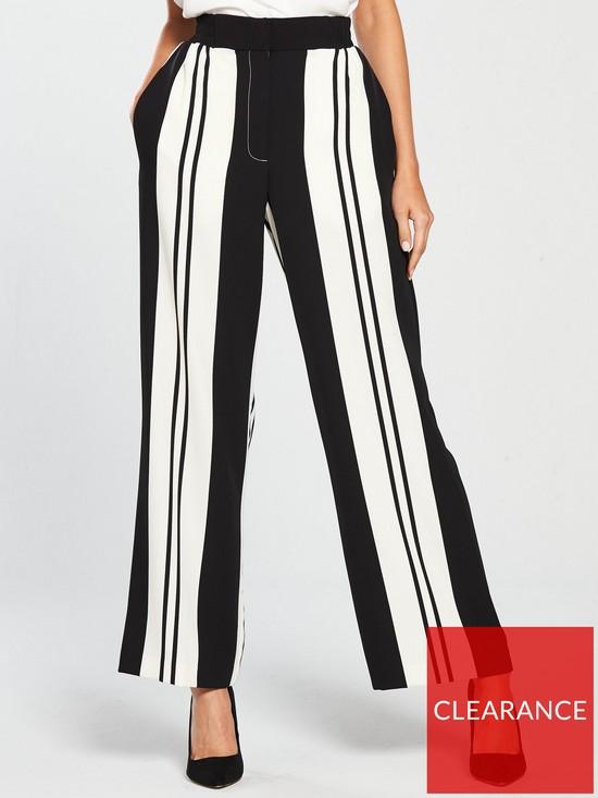 a286045d61 River Island Wide Leg Stripe Trousers - Black/White | very.co.uk