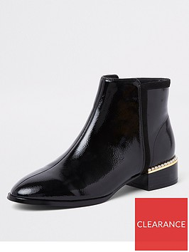 river-island-river-island-gold-trim-patent-ankle-boot-black