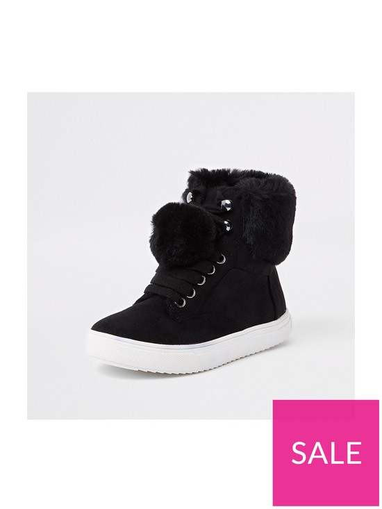 4376ddd340f Girls Faux Fur High Top Trainers - Black