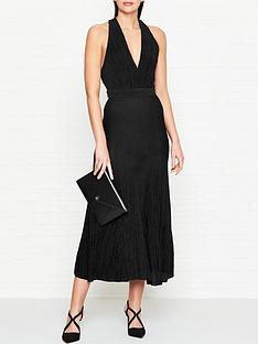 bec-bridge-electric-boogie-lurex-plunge-dress-black