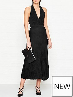 bec-bridge-electric-boogie-lurex-plunge-dress-black