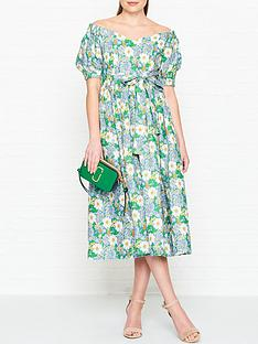 perseverance-london-flores-printed-linen-off-shoulder-midi-dress-green