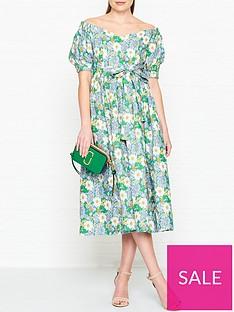 perseverance-london-flores-printed-linen-off-shoulder-midi-dress-green