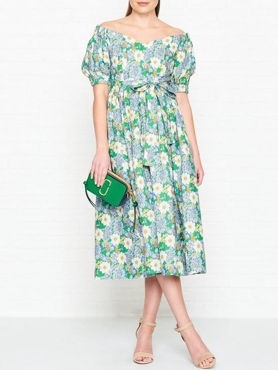 fac43e75e684 PERSEVERANCE LONDON Flores Printed Linen Off Shoulder Midi Dress - Green