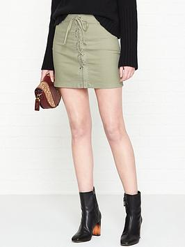Talia Stretch Canvas Lacing Detail Skirt  Khaki