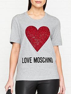 a9109dc79133ca LOVE MOSCHINO Heart Logo T-Shirt - Grey