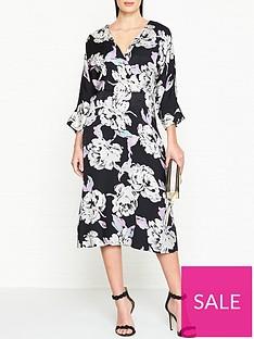 ff1e6f1bc3c5 GESTUZ Wrap Effect Floral Jacquard Dress - Black