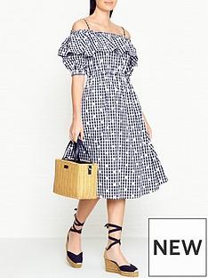 perseverance-london-floral-check-off-shoulder-dress-navy