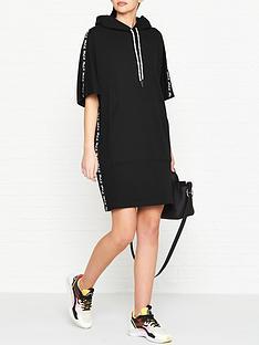 mcq-alexander-mcqueen-logo-tape-hoodie-dress-black