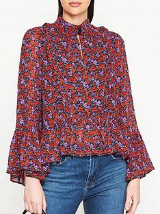 gestuz-floral-frill-peplum-blouse-red