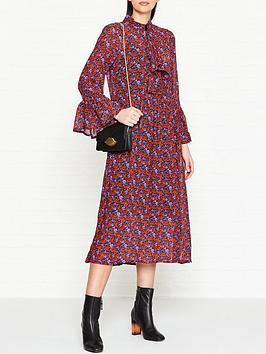 gestuz-rose-print-tie-neck-long-dress-red