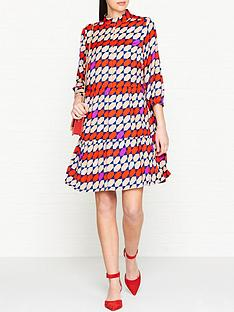 gestuz-recycled-graphic-tile-print-dress-red