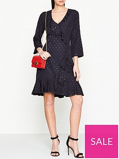 gestuz-polka-dot-jacquardnbspfrill-wrap-dress-navy