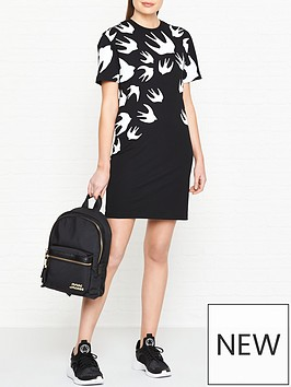 mcq-alexander-mcqueen-swallow-print-t-shirt-dress-black