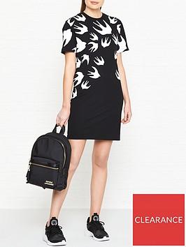 mcq-alexander-mcqueen-swallow-print-t-shirt-dress-black