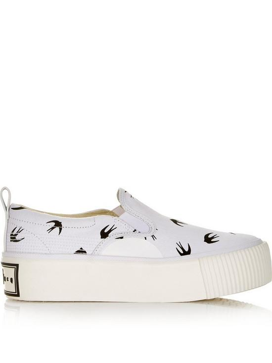 the best attitude e3c84 27e79 Swallow Print Platform Plimsoll Shoes - White