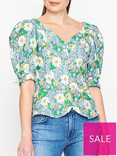 perseverance-london-flores-printed-lined-v-neck-crop-blouse-green