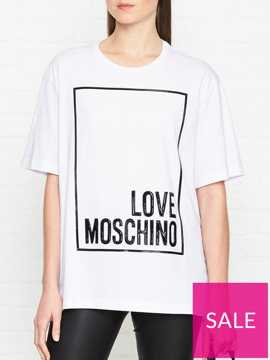 f2c22d492255 LOVE MOSCHINO Oversized Box Logo T-Shirt - White | very.co.uk