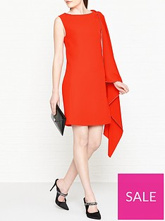 mcq-alexander-mcqueen-cascade-one-shoulder-dress--nbsporange